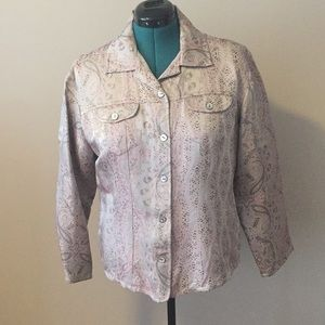 Chico's shirt/jacket rayon and silk blend.